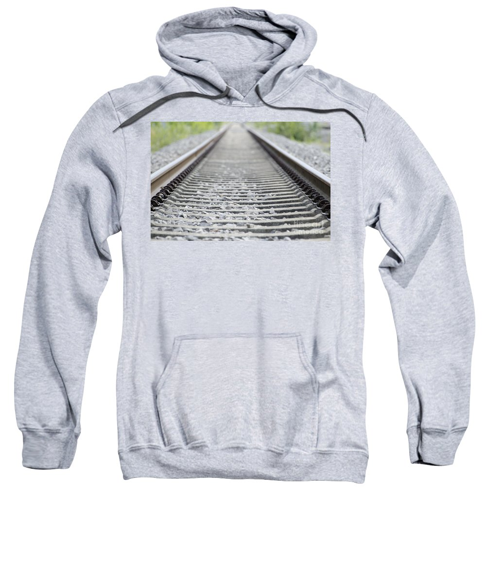 Railroad Tracks Sweatshirt featuring the photograph Railroad Tracks by Mats Silvan