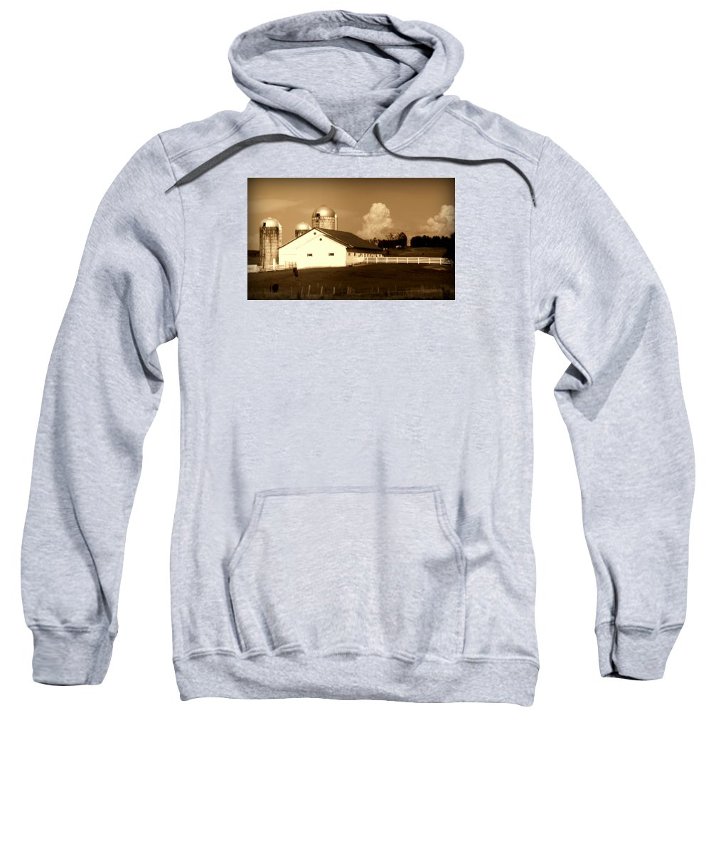 Barns Sweatshirt featuring the photograph Cattle Farm Mornings by Karen Wiles