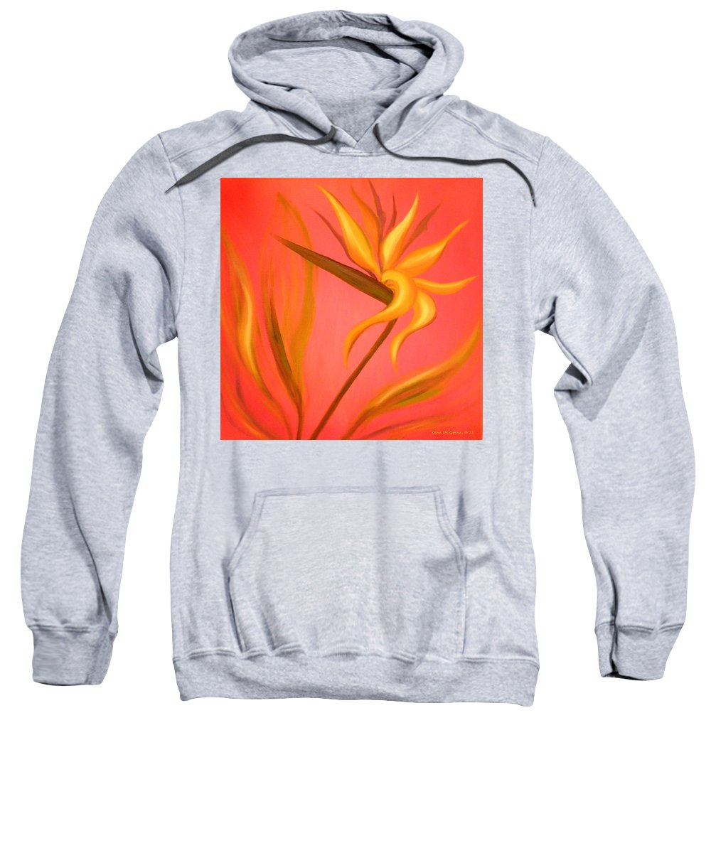 Flower Sweatshirt featuring the painting Bird Of Paradise by Gina De Gorna
