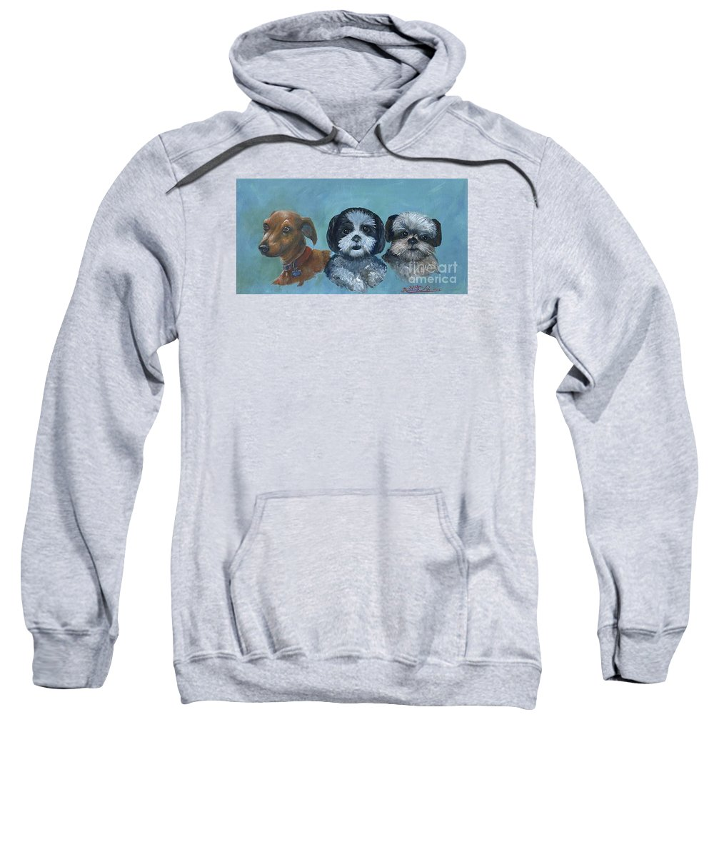 Dog Sweatshirt featuring the painting 3 Dog Night by Ruth Ann Murdock