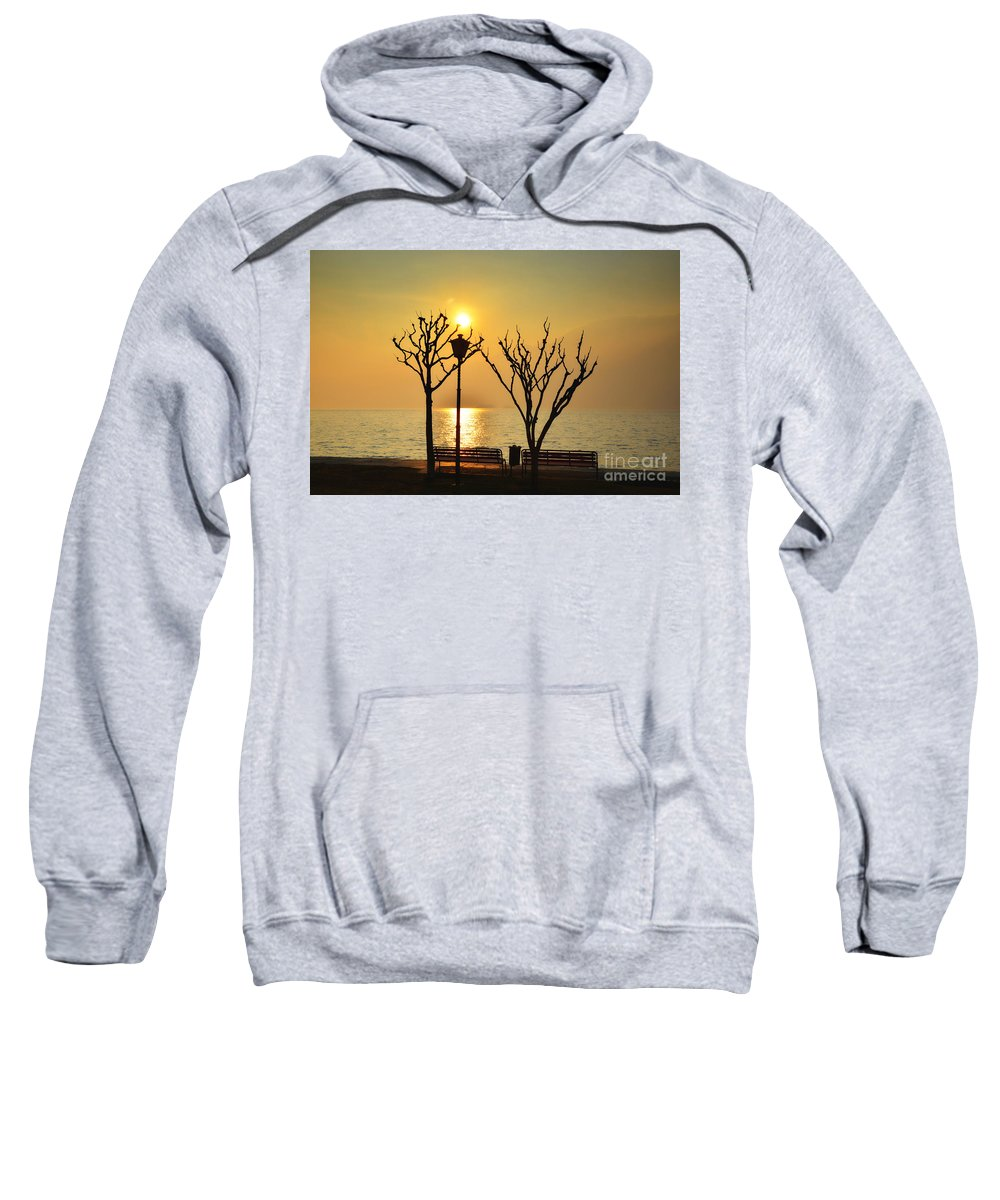 Tree Sweatshirt featuring the photograph Sunlight Over A Lake by Mats Silvan