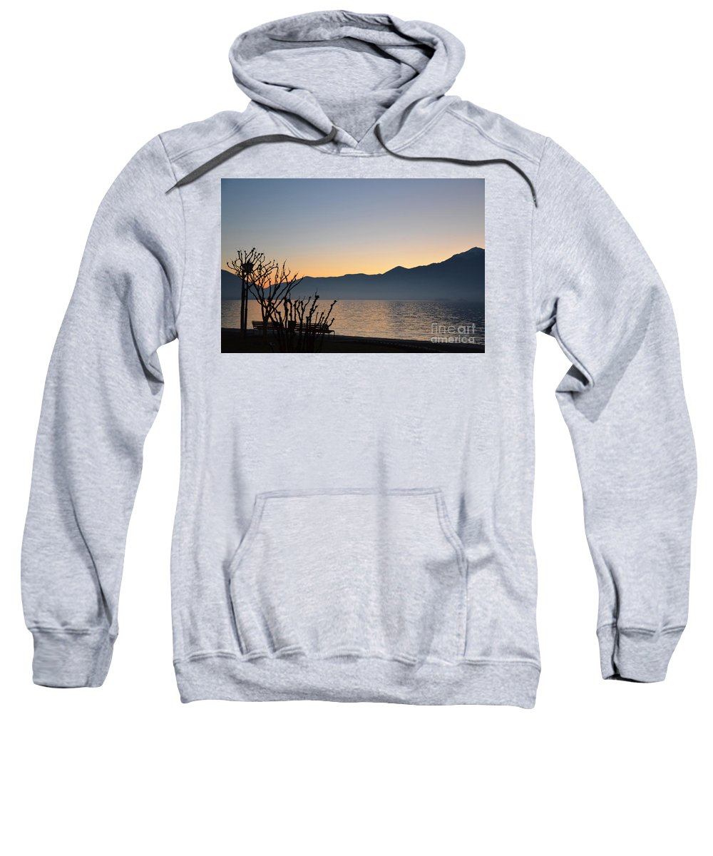 Blue Sweatshirt featuring the photograph Sunset Over An Alpine Lake by Mats Silvan