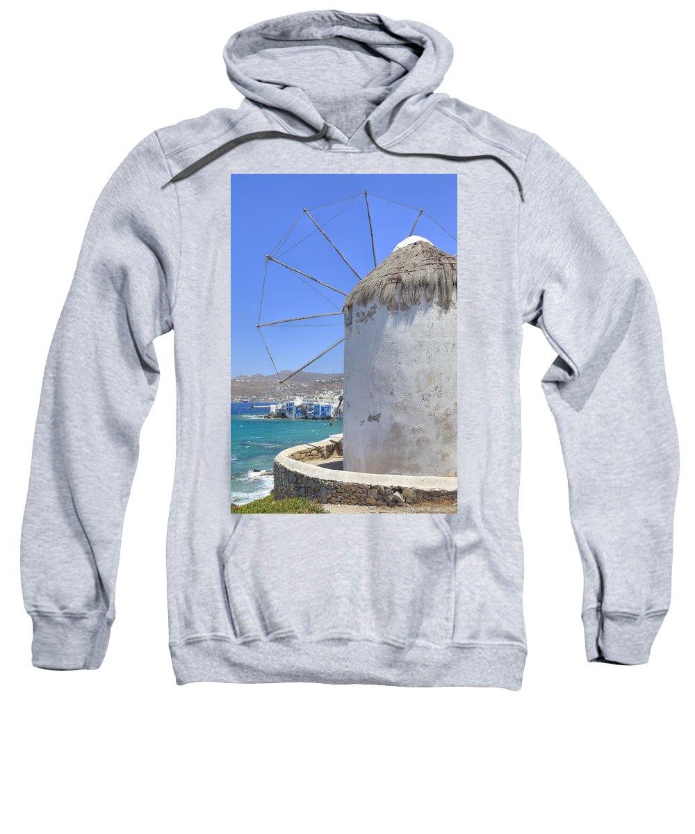 Windmill Sweatshirt featuring the photograph Mykonos by Joana Kruse
