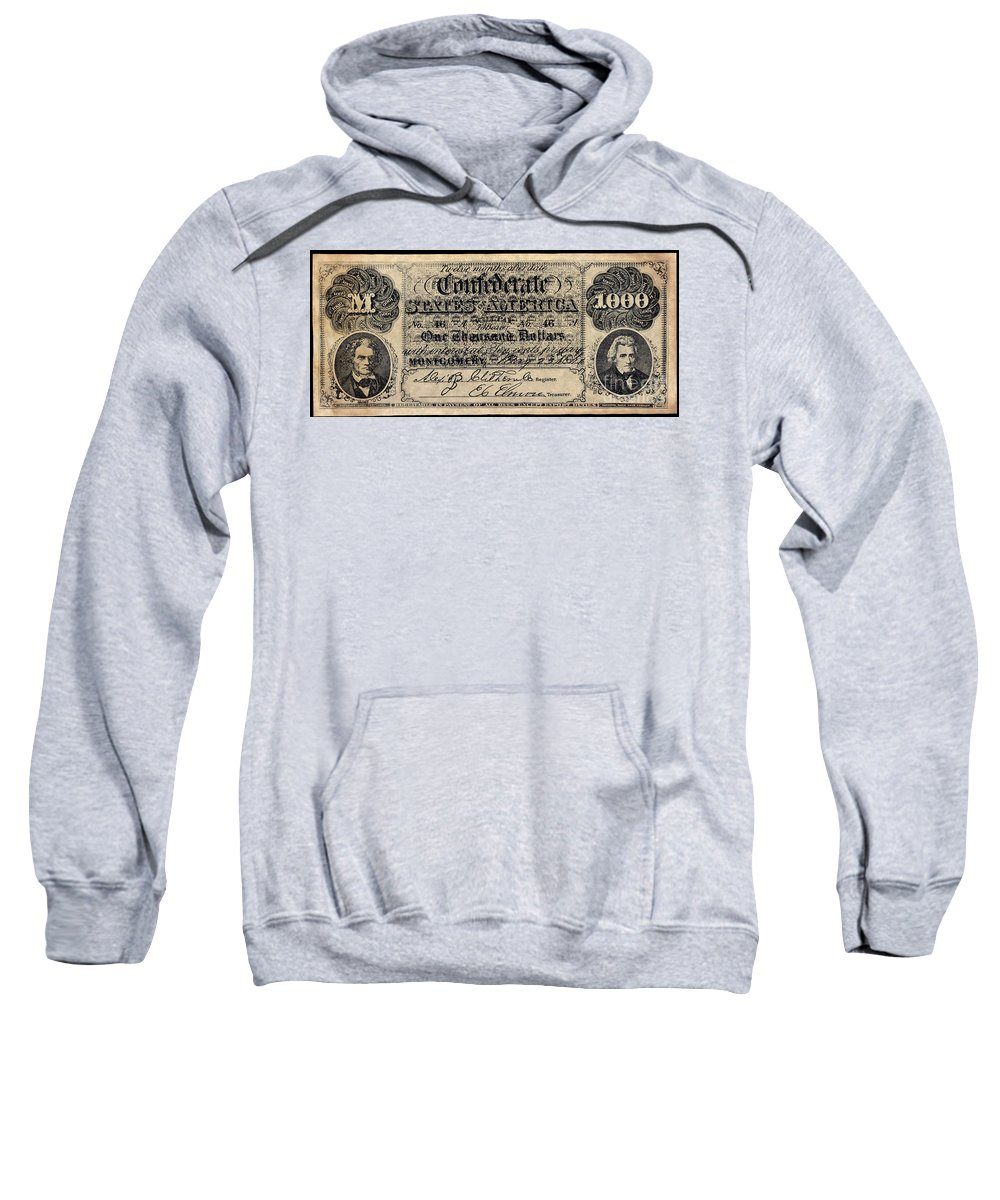 1000 Sweatshirt featuring the photograph Confederate Banknote by Granger