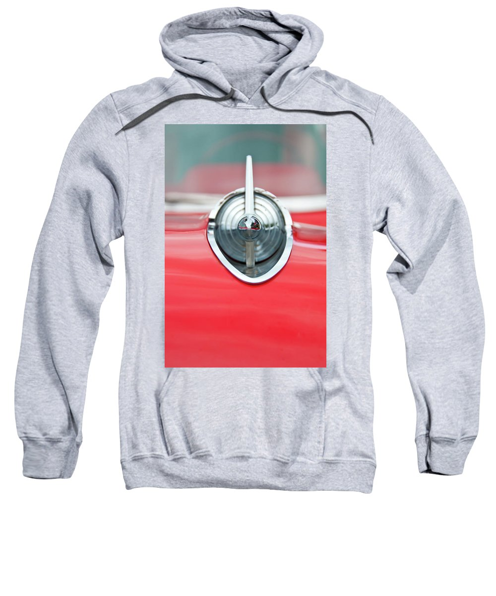 Automobile Sweatshirt featuring the photograph '57 Chevy Hood Ornament 8508 by Guy Whiteley