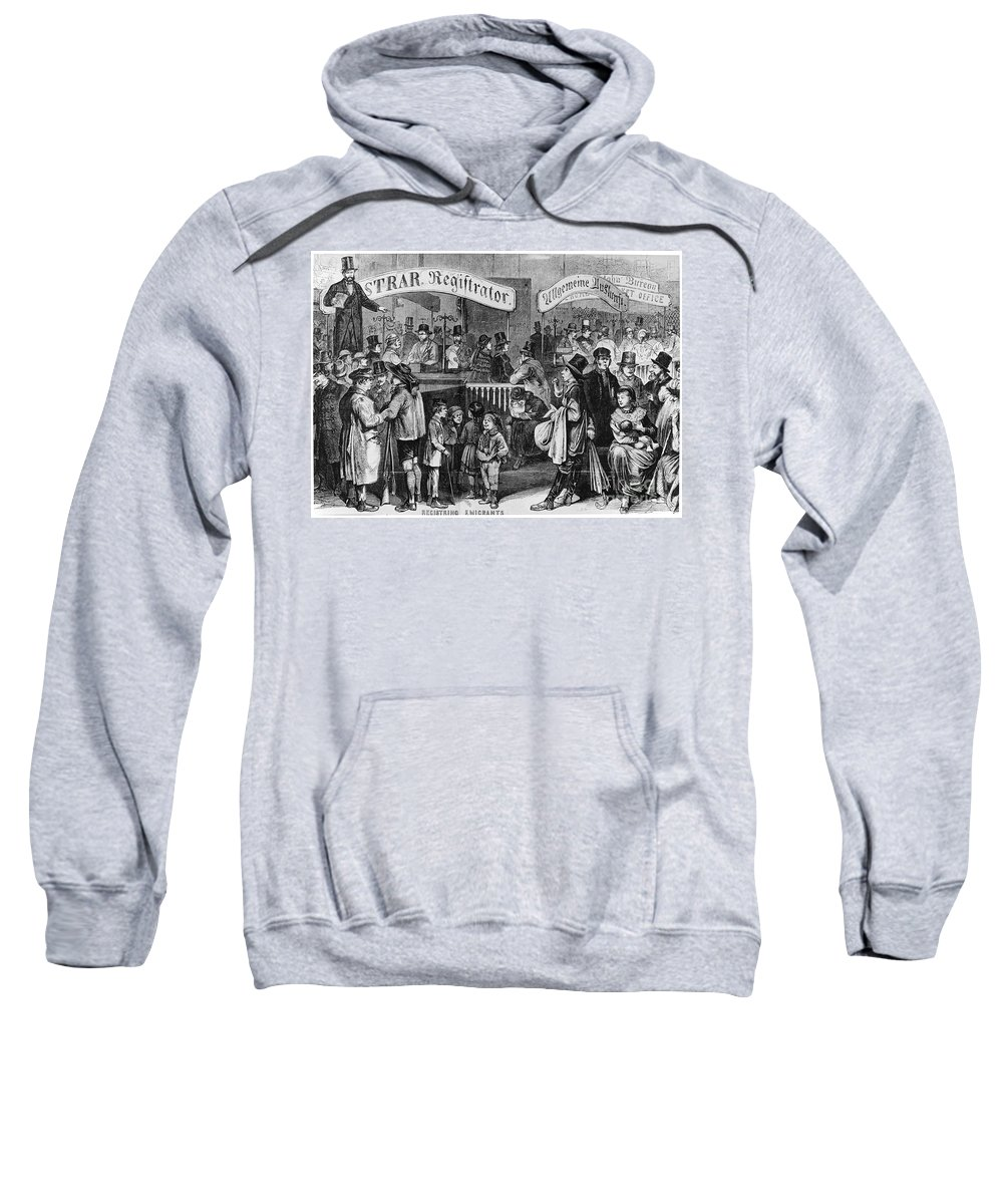 1866 Sweatshirt featuring the photograph Immigrants: Castle Garden by Granger