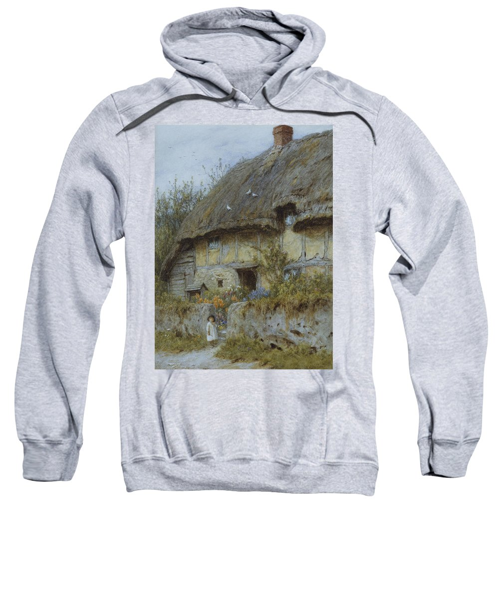 Landscape; English; Thatched; Thatch; Exterior; Rural; Victorian; C19th; C20th Sweatshirt featuring the painting A Berkshire Cottage by Helen Allingham