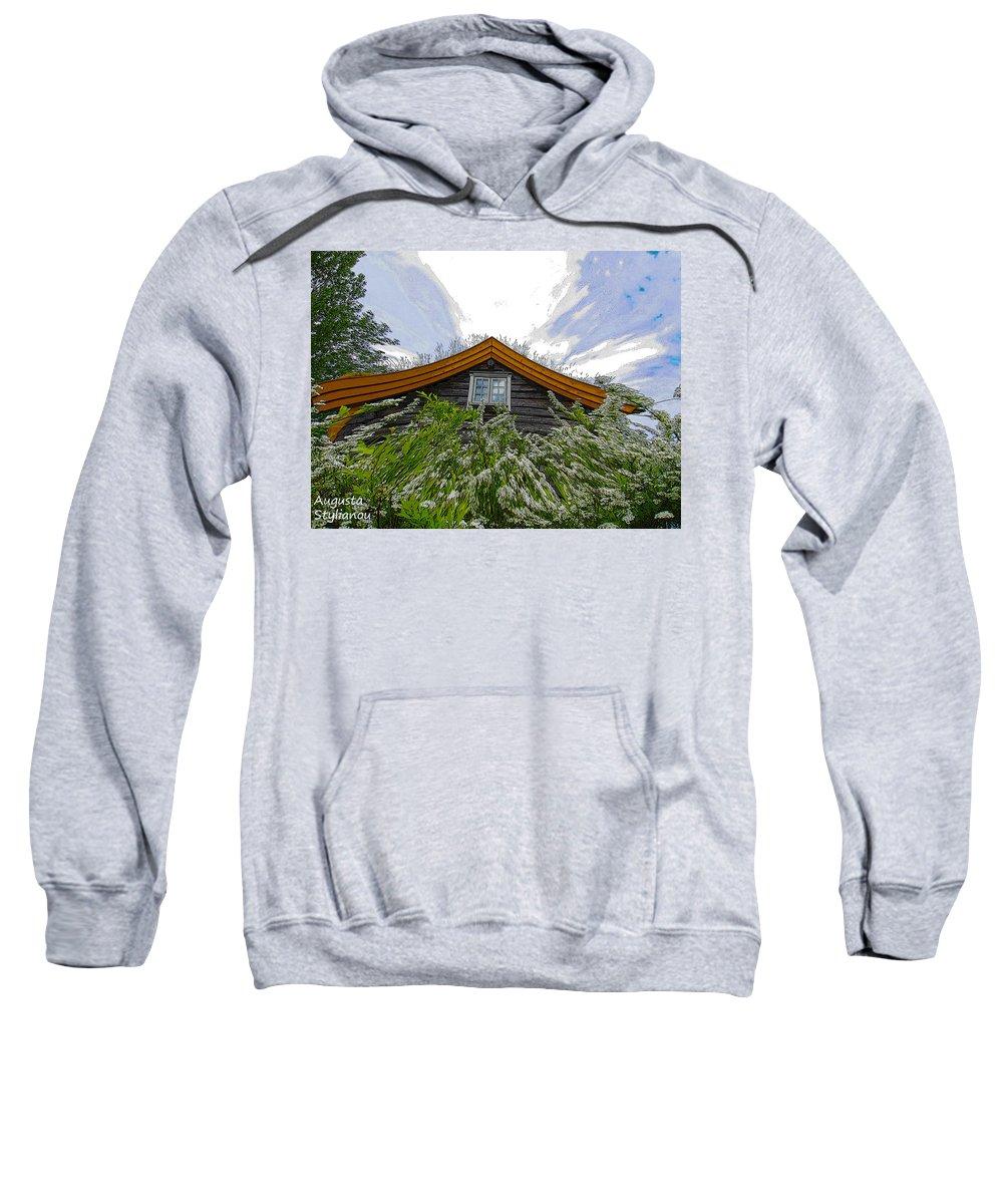 Augusta Stylianou Sweatshirt featuring the digital art A Flowery House In Norway by Augusta Stylianou