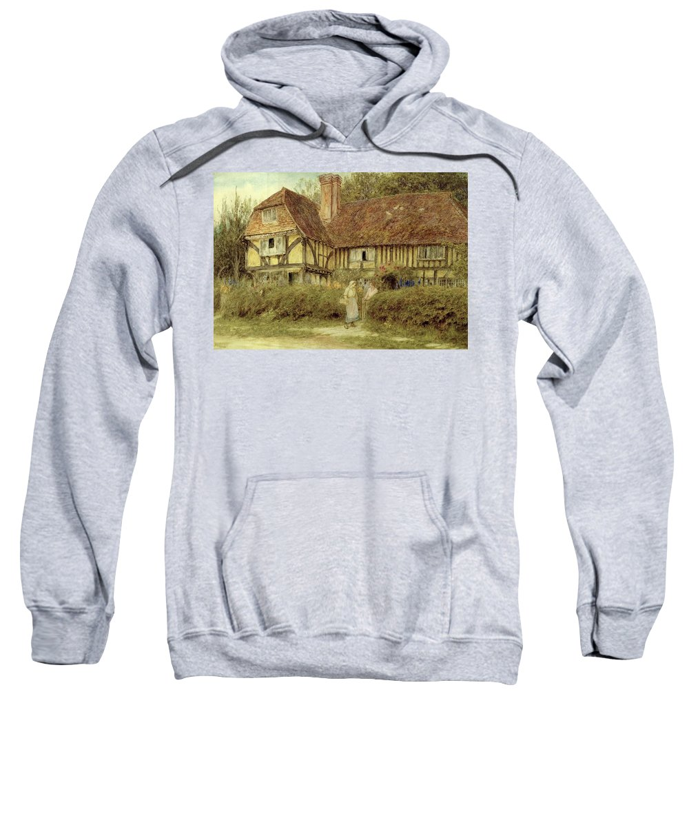 A Kentish Cottage Sweatshirt featuring the painting A Kentish Cottage by Helen Allingham