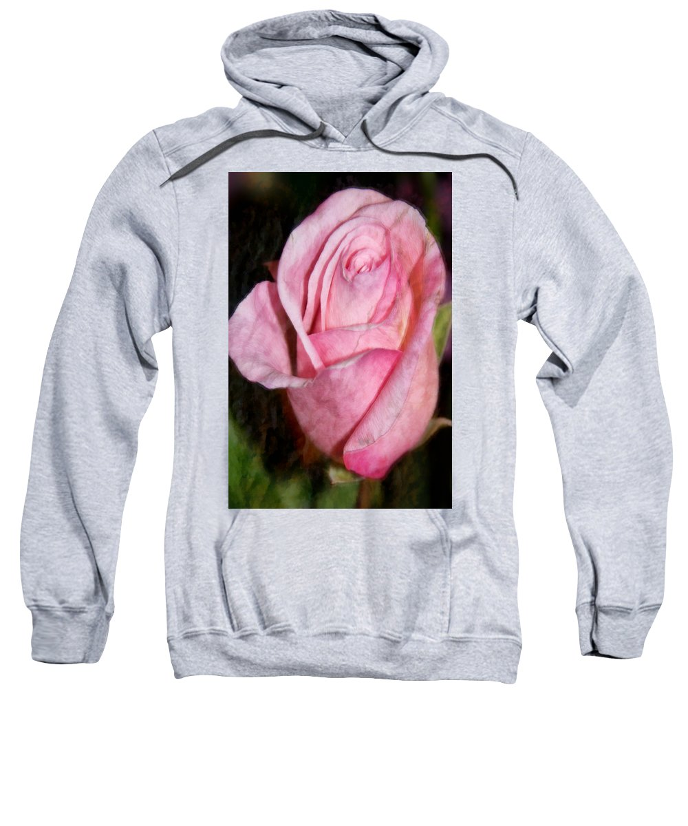 Pink Sweatshirt featuring the photograph A Kiss By A Rose by Angelina Vick