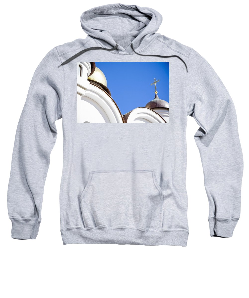 Christianity Sweatshirt featuring the photograph A Low Angle Shot Of A White Church by David DuChemin