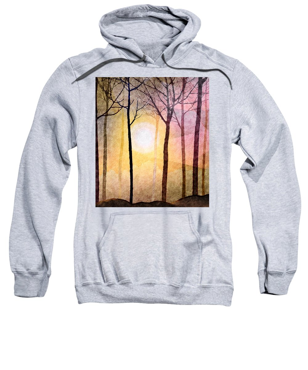 Sun Rays Sweatshirt featuring the mixed media A New Day by Kimberlee Fiedler