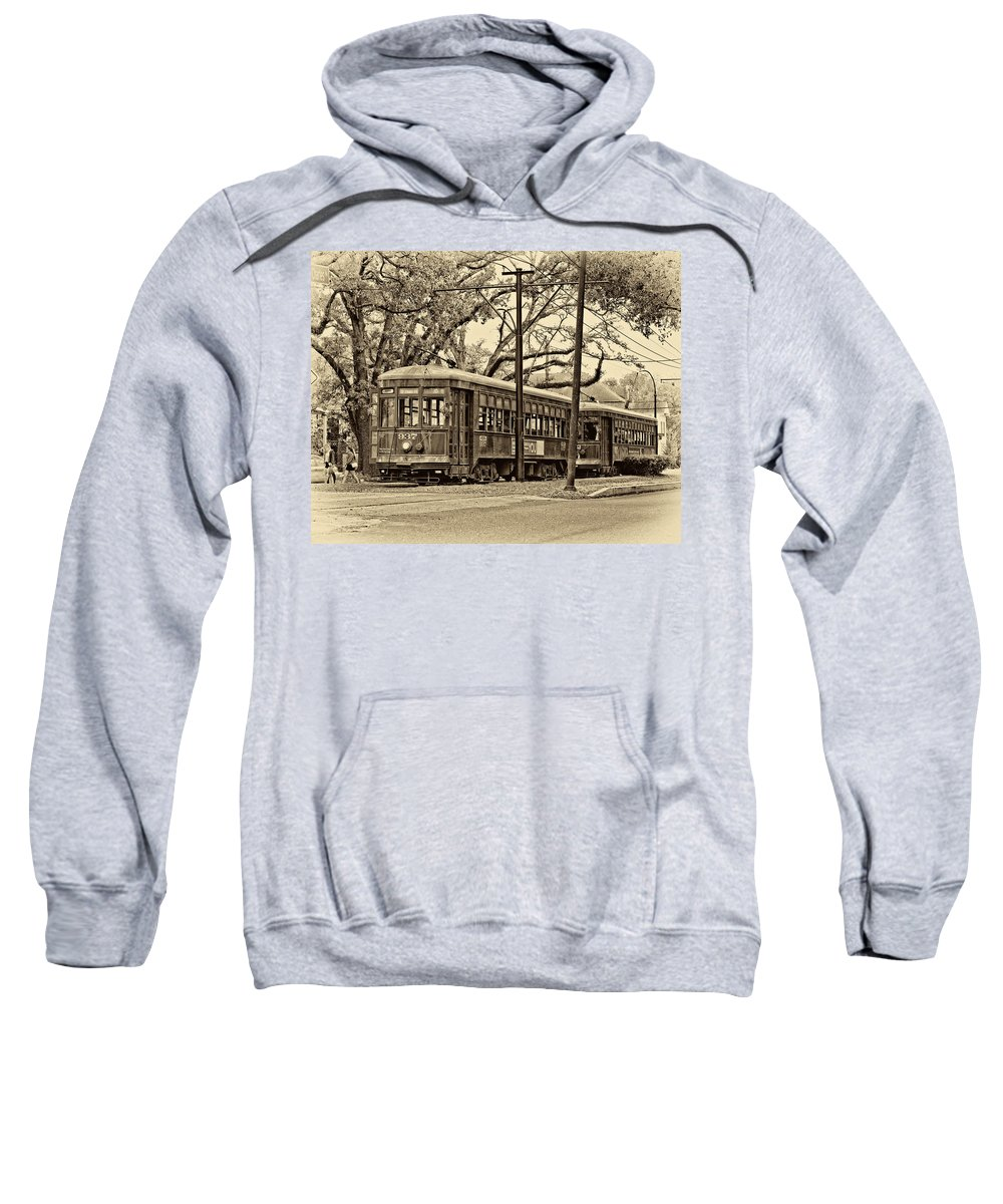 New Orleans Sweatshirt featuring the photograph A Streetcar Named St. Charles Sepia by Steve Harrington