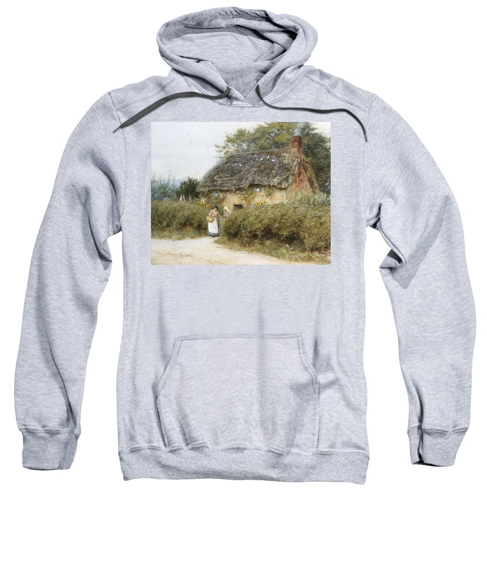 A Thatched Cottage Near Peaslake Sweatshirt featuring the painting A Thatched Cottage Near Peaslake Surrey by Helen Allingham
