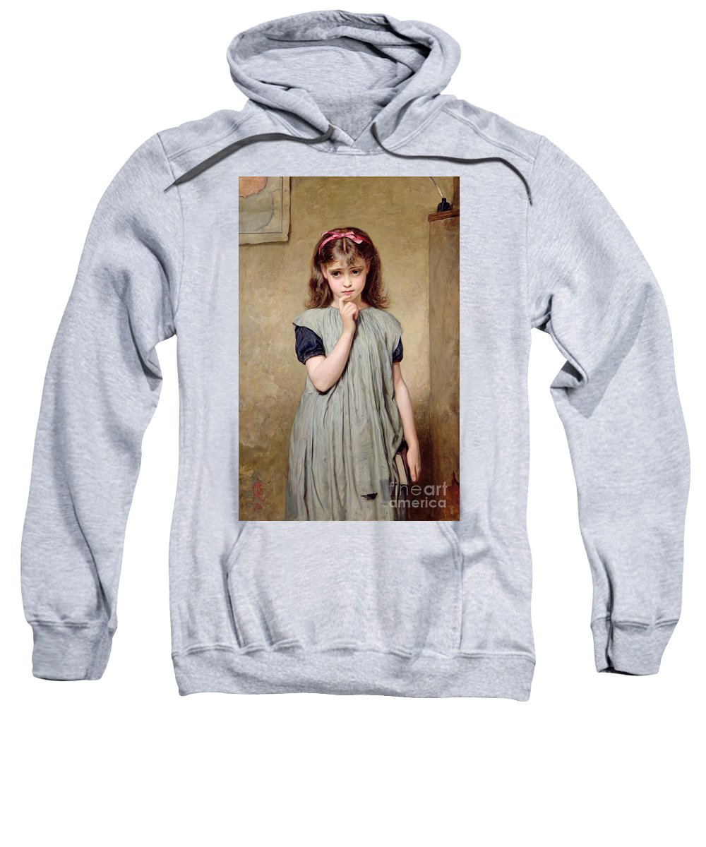 A Young Girl In The Classroom Sweatshirt featuring the painting A Young Girl In The Classroom by Charles Sillem Lidderdale