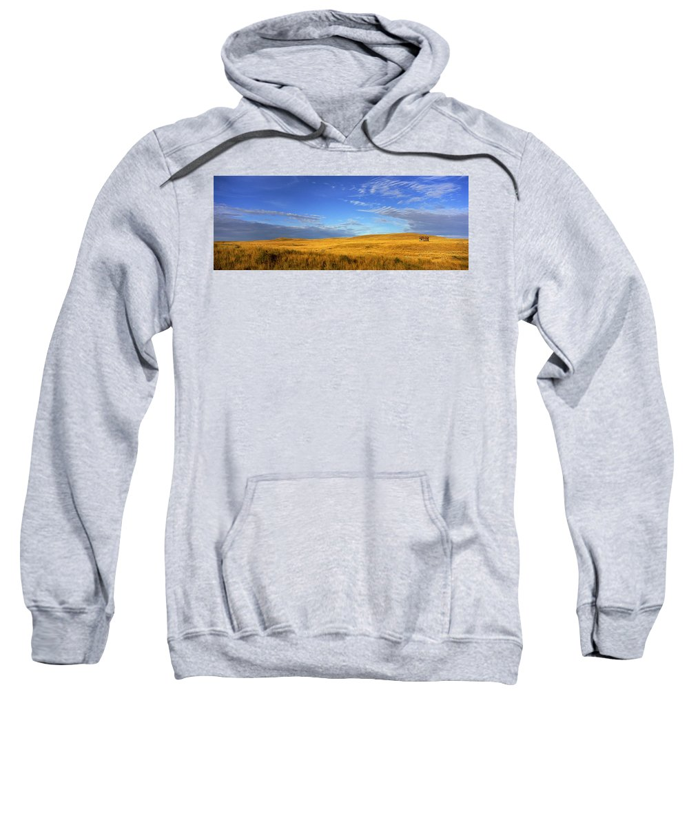 Light Sweatshirt featuring the photograph Abandoned House On The Prairies by Robert Postma
