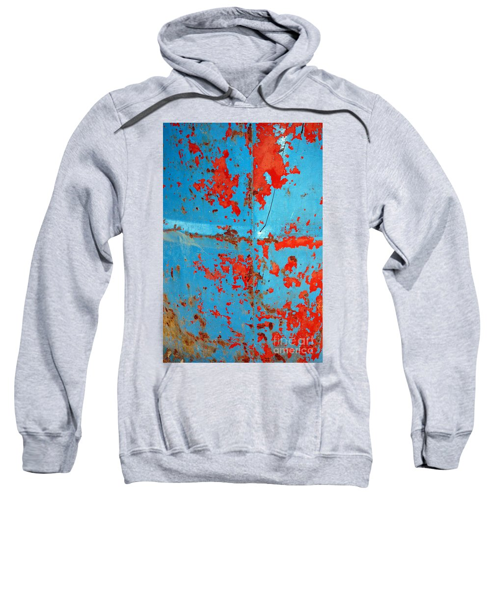 Metallic Sweatshirt featuring the photograph Abstrac Texture Of The Paint Peeling Iron Drum by Antoni Halim