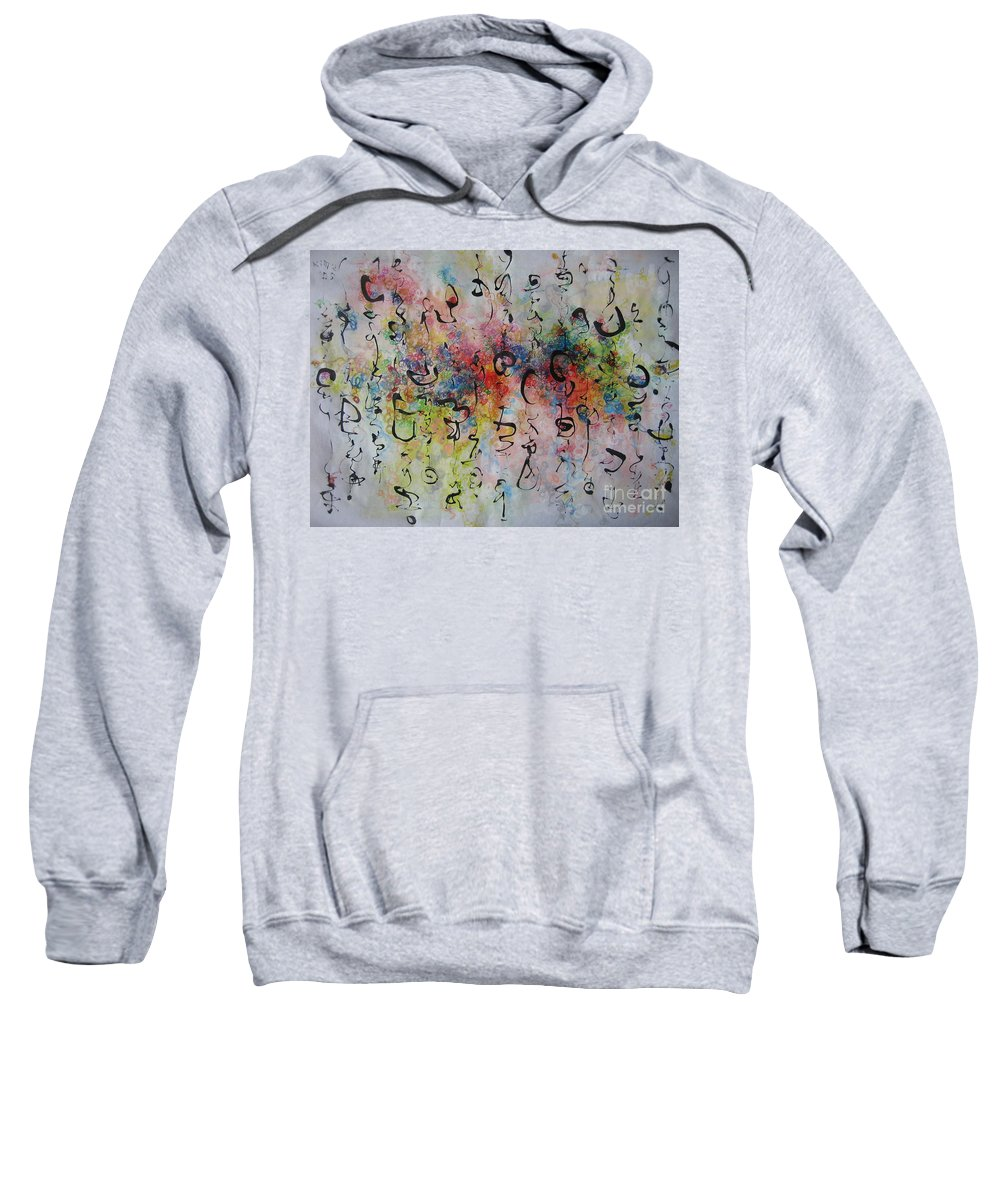 Calligraphy Art Painting Sweatshirt featuring the painting Abstract Calligraphy115 by Seon-Jeong Kim