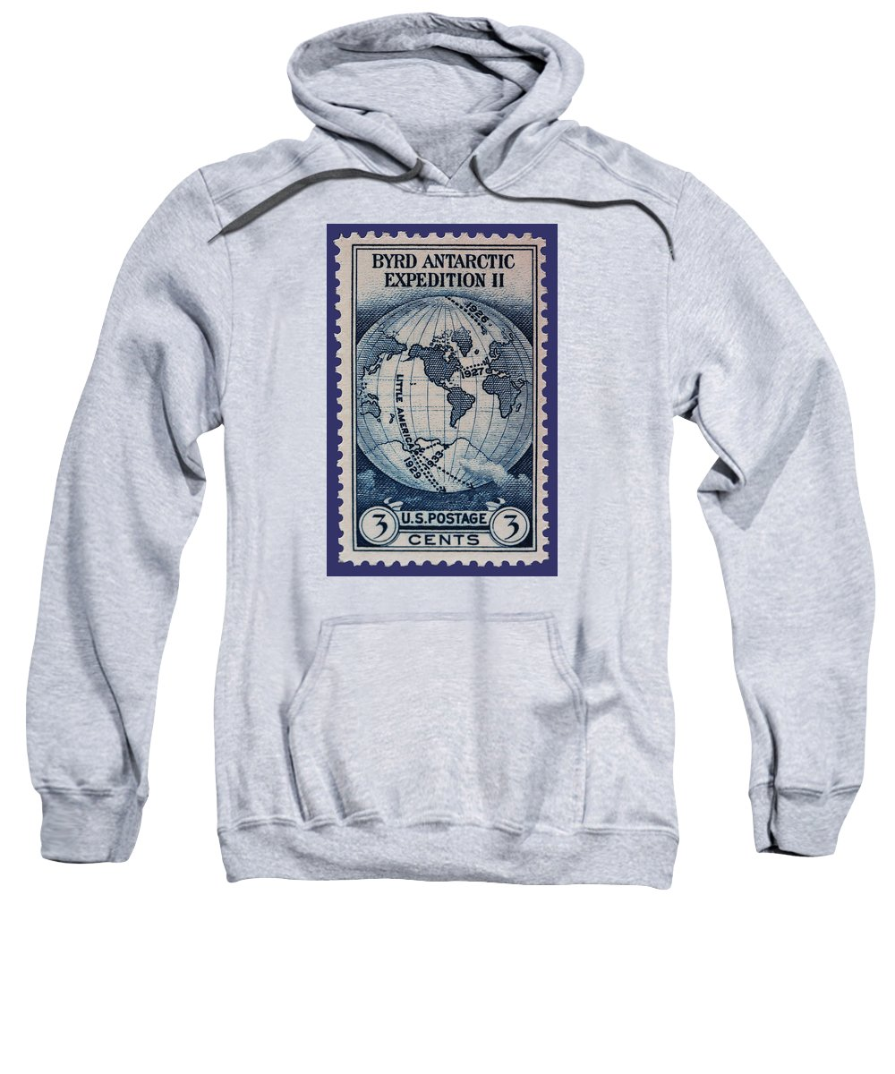 Admiral Richard Byrd Sweatshirt featuring the photograph Admiral Richard Byrd Postage Stamp by James Hill