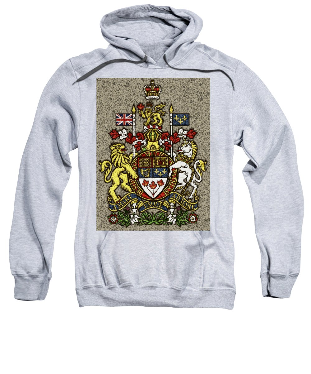 Canada Sweatshirt featuring the photograph Aged And Cracked Canada Coat Of Arms by David G Paul