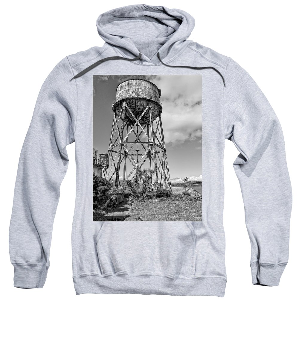 Alcatraz Sweatshirt featuring the photograph Alcatraz Penitentiary Water Tower by Daniel Hagerman