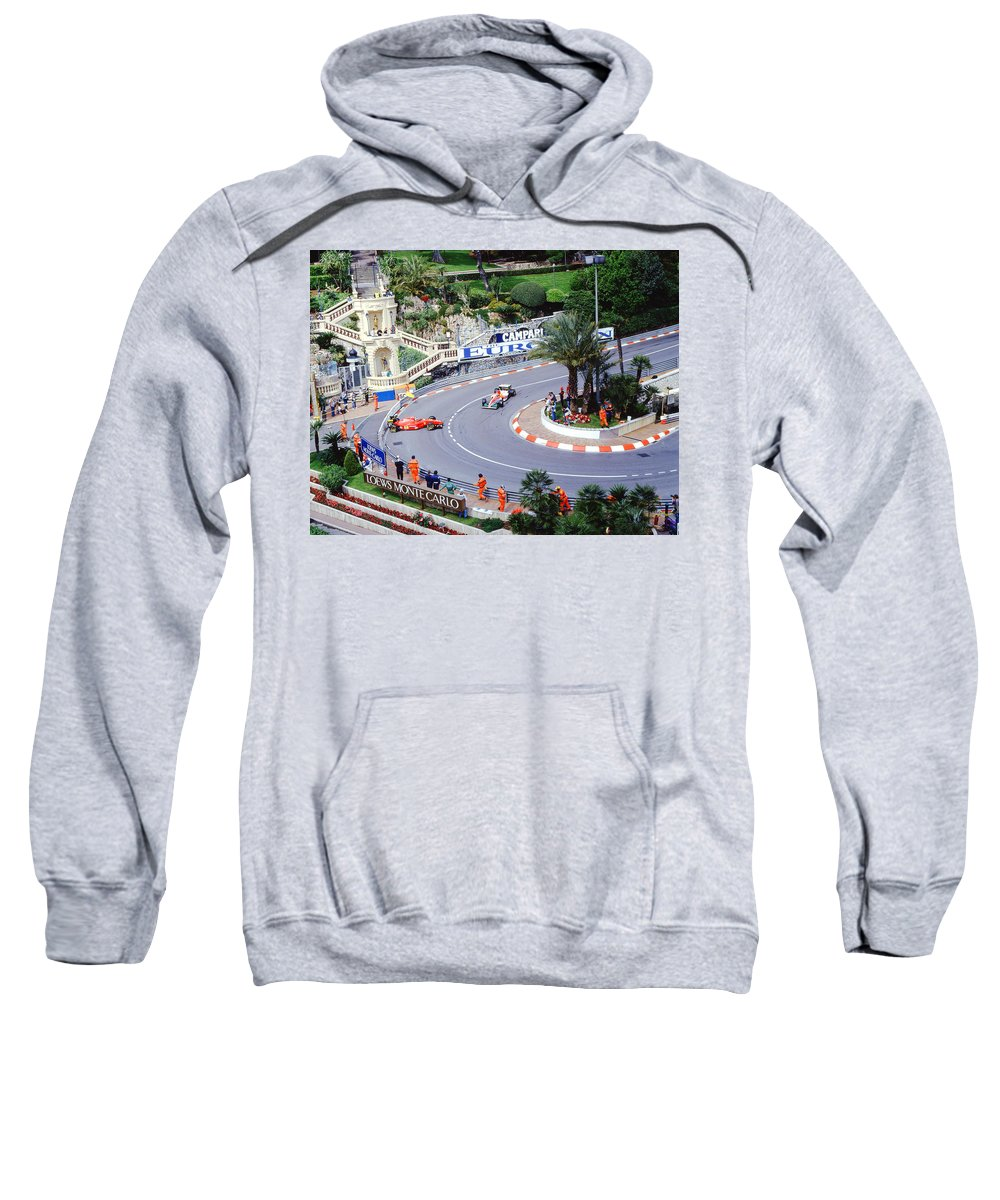Erik Comas Sweatshirt featuring the photograph Alesi Spin At Loews Hairpin by John Bowers