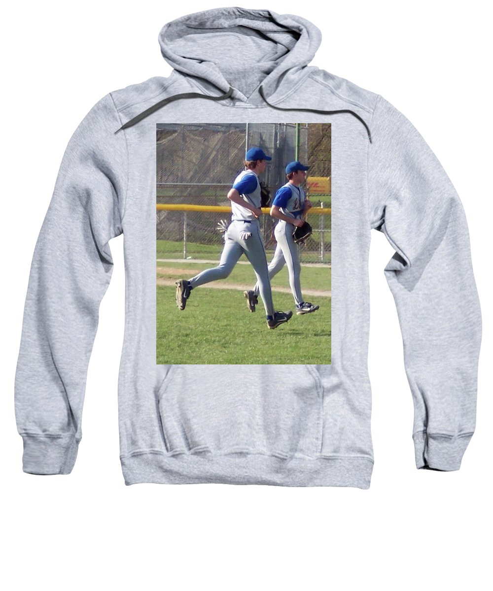 Sports Sweatshirt featuring the photograph All Air Baseball Players Running by Thomas Woolworth