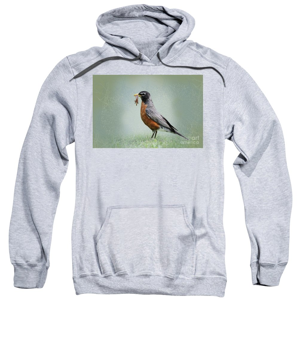 American Robin Sweatshirt featuring the photograph American Robin With Worms by Betty LaRue