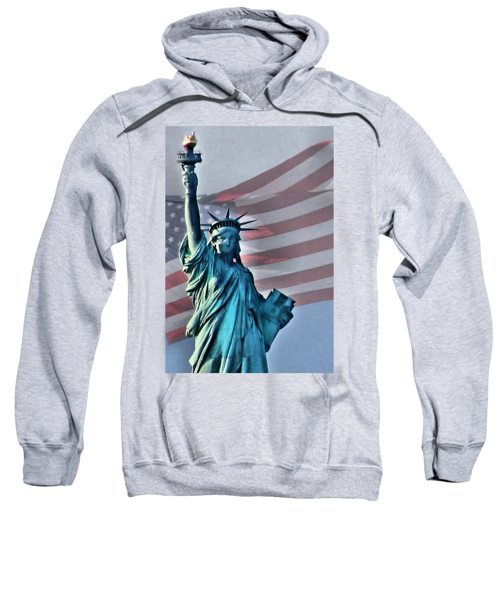 Statue Of Liberty Sweatshirt featuring the photograph American Welcome by Kristin Elmquist