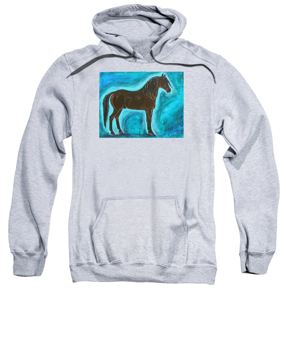 Equine Sweatshirt featuring the painting America's Son by Helen Scanlon