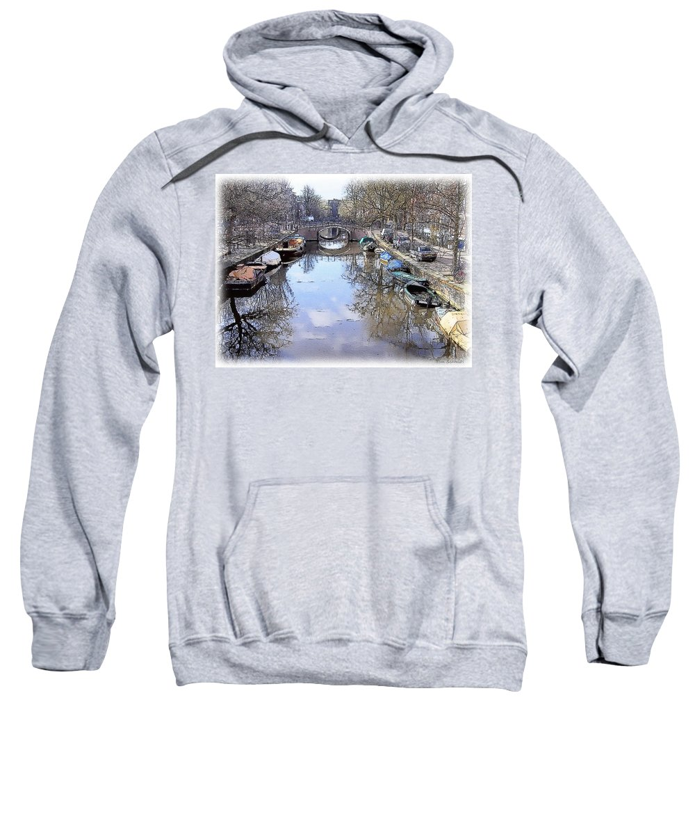 Amsterdam Sweatshirt featuring the painting Amsterdam Canal by Tom Schmidt