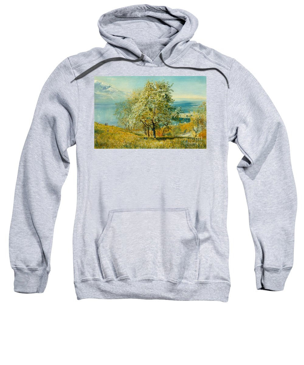 An Alpine Lake Sweatshirt featuring the painting An Alpine Lake by John William Inchbold