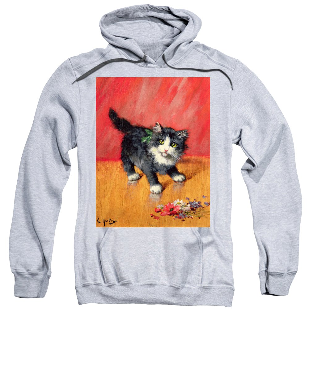 Kitten Sweatshirt featuring the painting An Innocent Look by Leon-Charles Huber