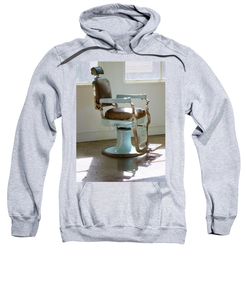 Barber Chair Sweatshirt featuring the photograph Antique Barber Chair by Mary Deal