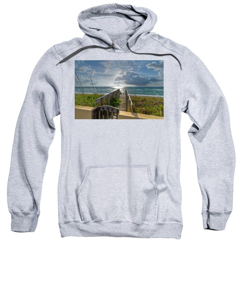 Clouds Sweatshirt featuring the photograph Aqua Seas by Debra and Dave Vanderlaan