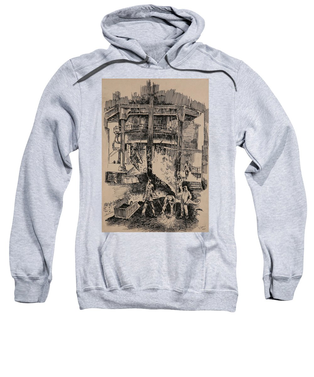 Metallurgical Furnace Sweatshirt featuring the drawing At The Blast Furnace by Ylli Haruni