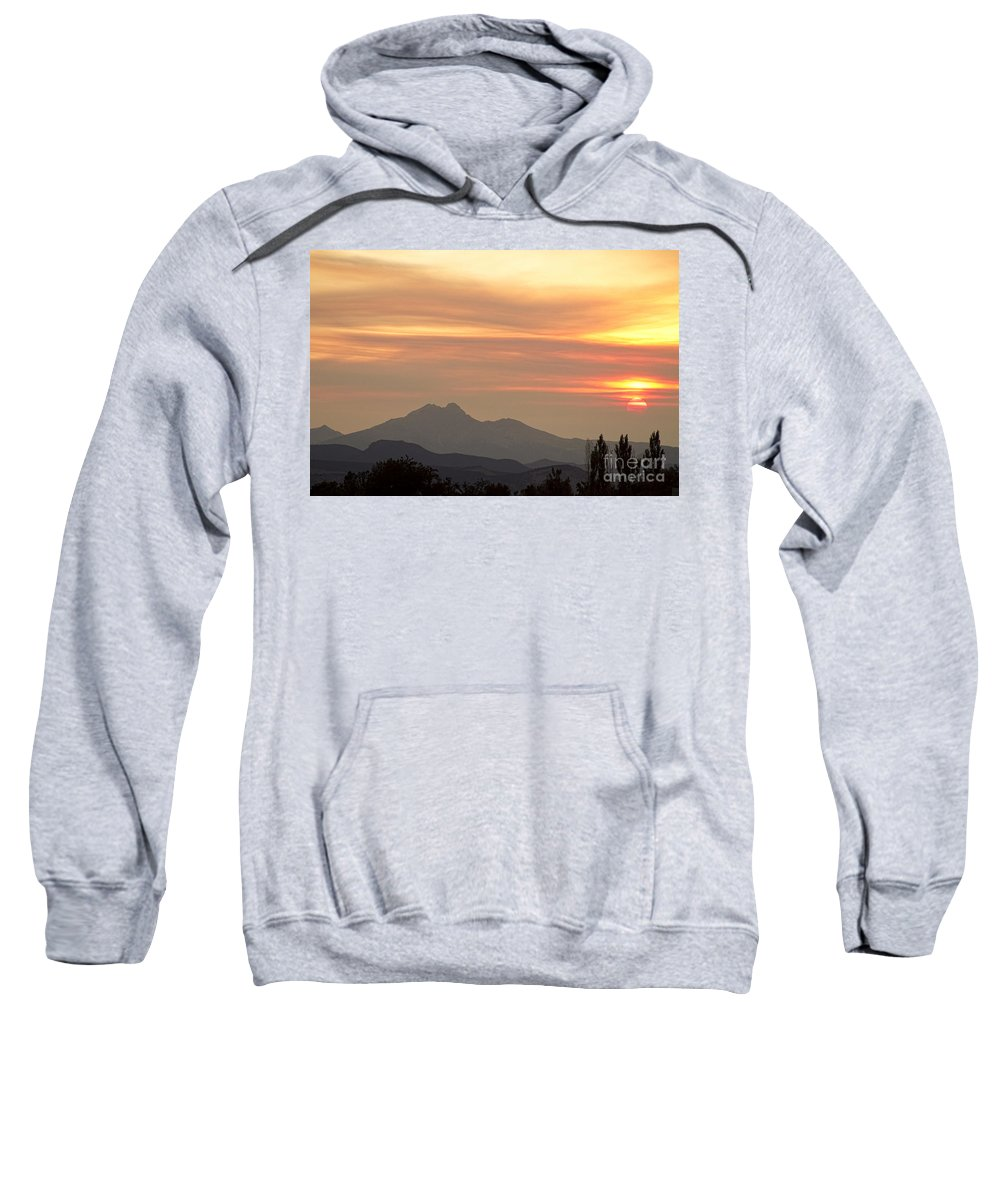 'longs Peak' Sweatshirt featuring the photograph August Sunset by James BO Insogna