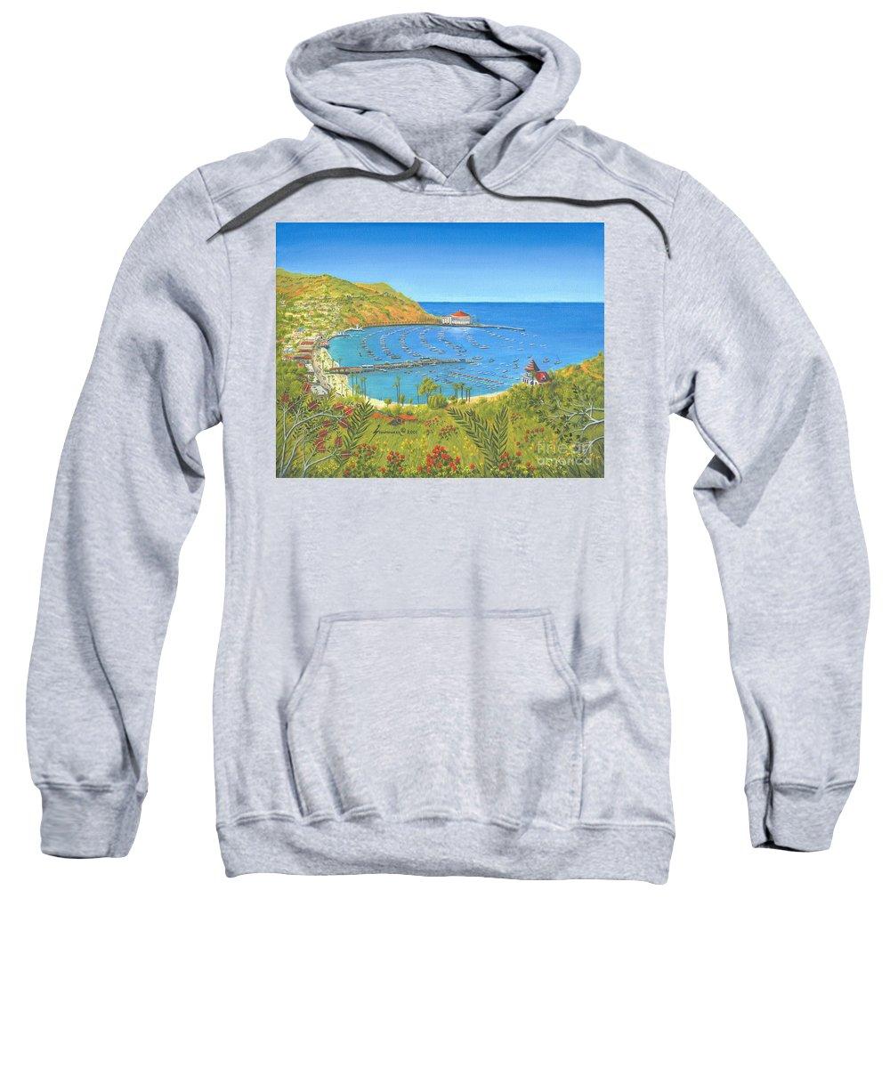 Avalon Sweatshirt featuring the painting Avalon Catalina Island by Jerome Stumphauzer