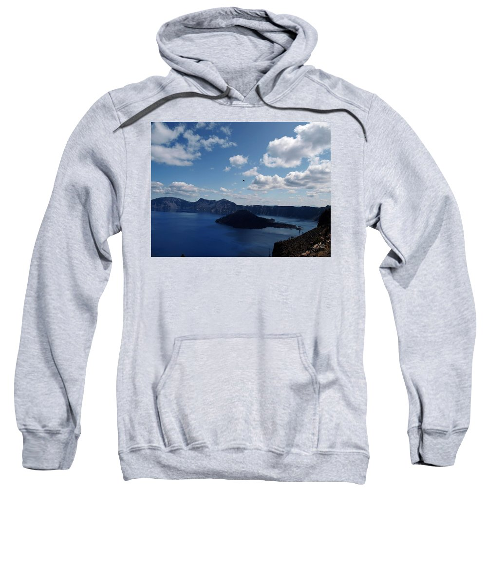 Blue Sweatshirt featuring the photograph Backside Of Crater Lake by Teri Schuster
