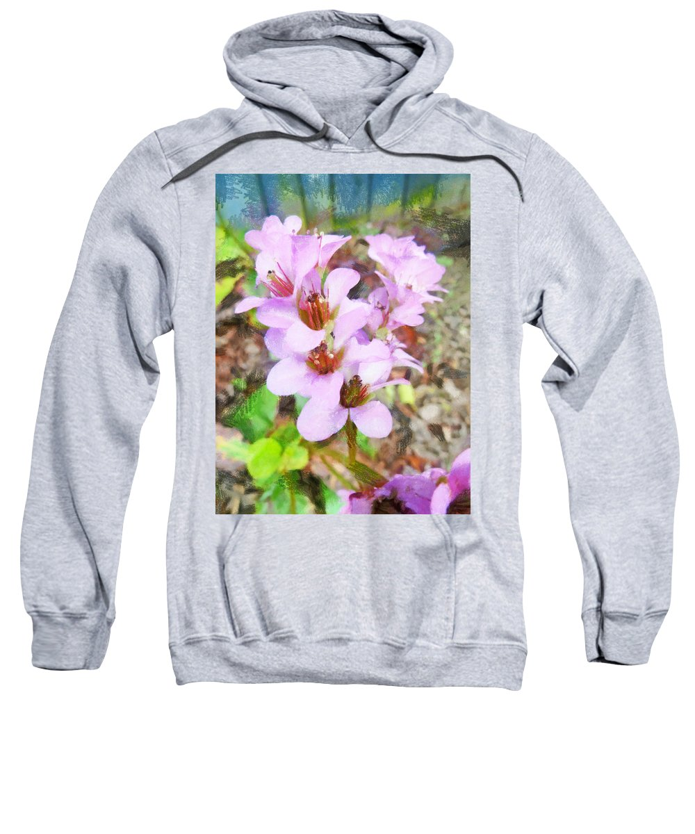 Pink Sweatshirt featuring the photograph Backyard Blooms by Steve Taylor