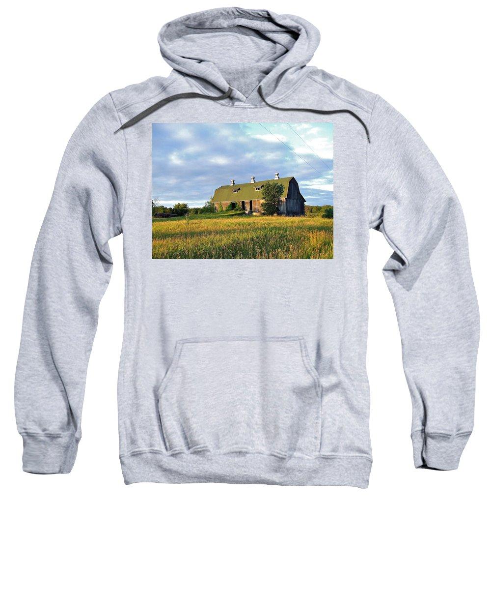 Beautiful Sweatshirt featuring the photograph Barn In A Golden Field by Susan Wyman