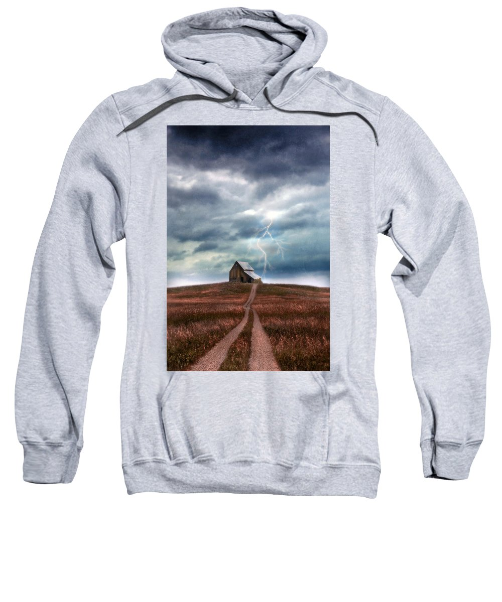Barn Sweatshirt featuring the photograph Barn In Lightning Storm by Jill Battaglia