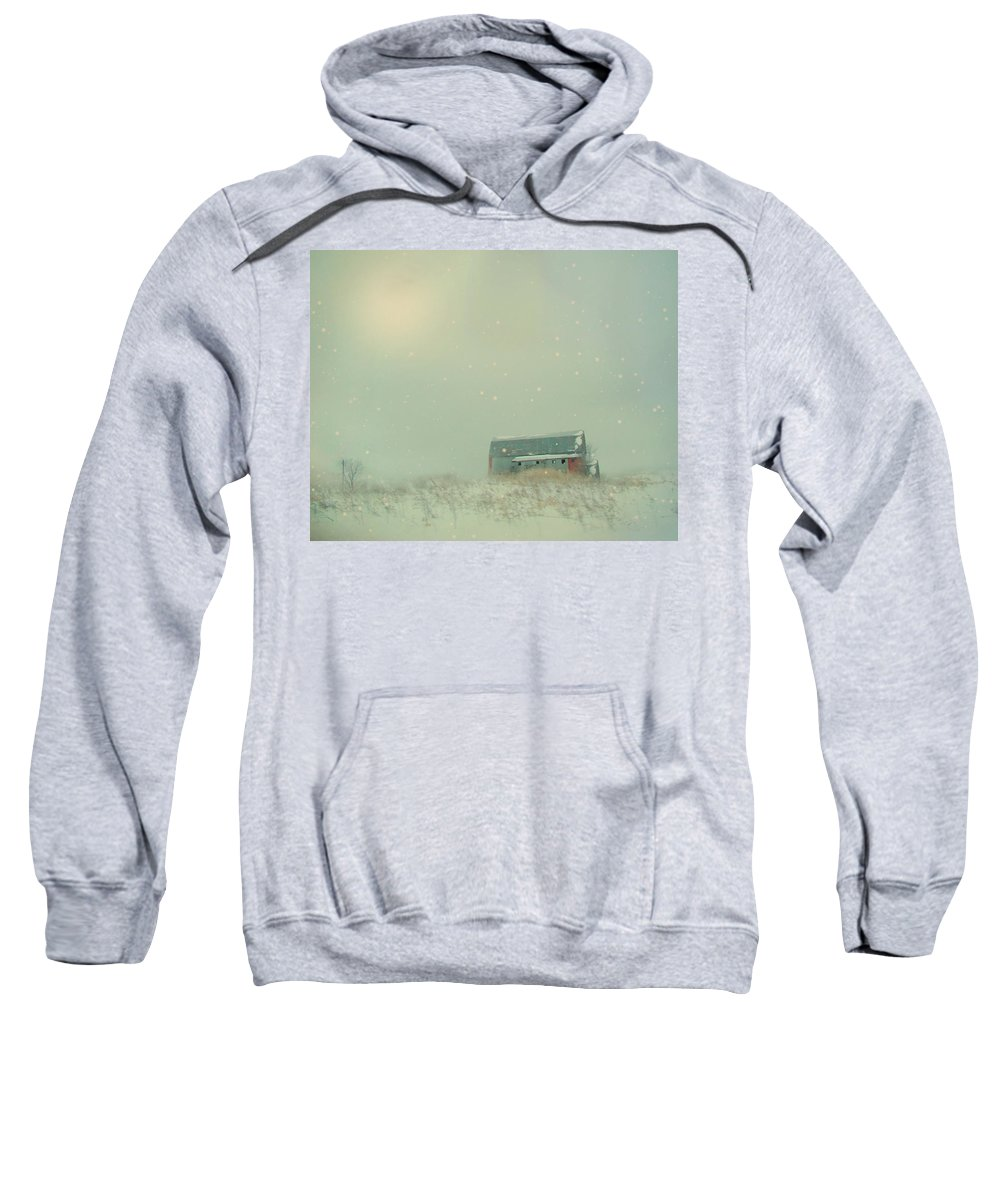 Barn Sweatshirt featuring the photograph Barn In Winter by Gothicrow Images