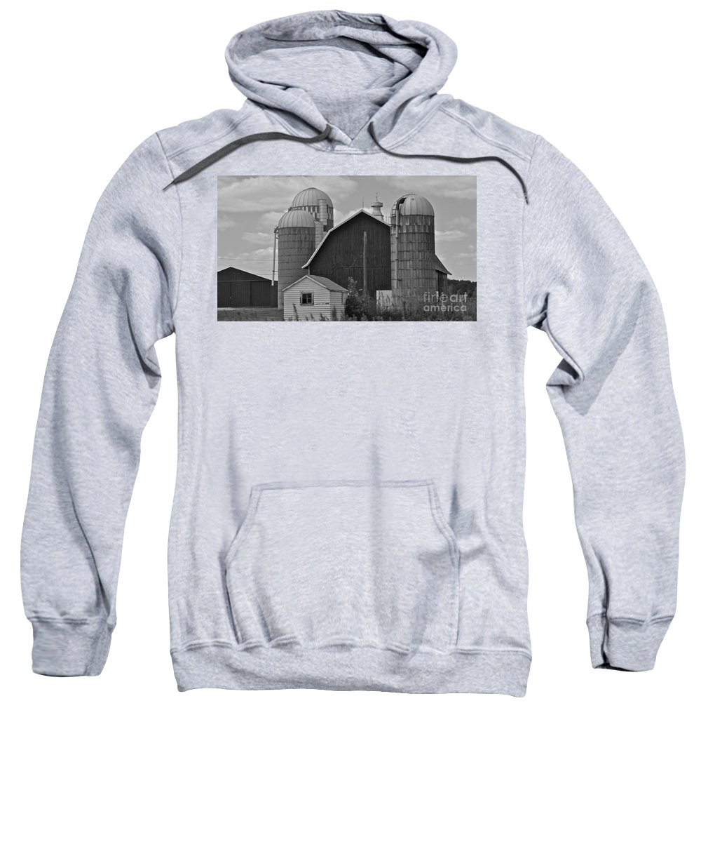 Black And White Sweatshirt featuring the photograph Barns And Silos Black And White by Pamela Walrath