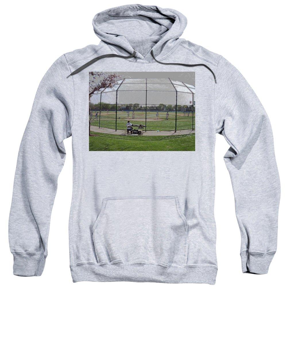 Sports Sweatshirt featuring the digital art Baseball Warm Ups Digital Art by Thomas Woolworth