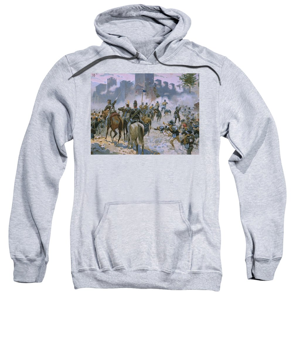Male; Soldier; Soldiers; Army; Uniform; Military; Horse; Horses; Cavalry; Infantry; Bugler; Charge; Smoke; Nationalist; Nationalists; War; Italian Unification; Tower; Walls; City Sweatshirt featuring the painting Battle Of Solferino And San Martino by Italian School