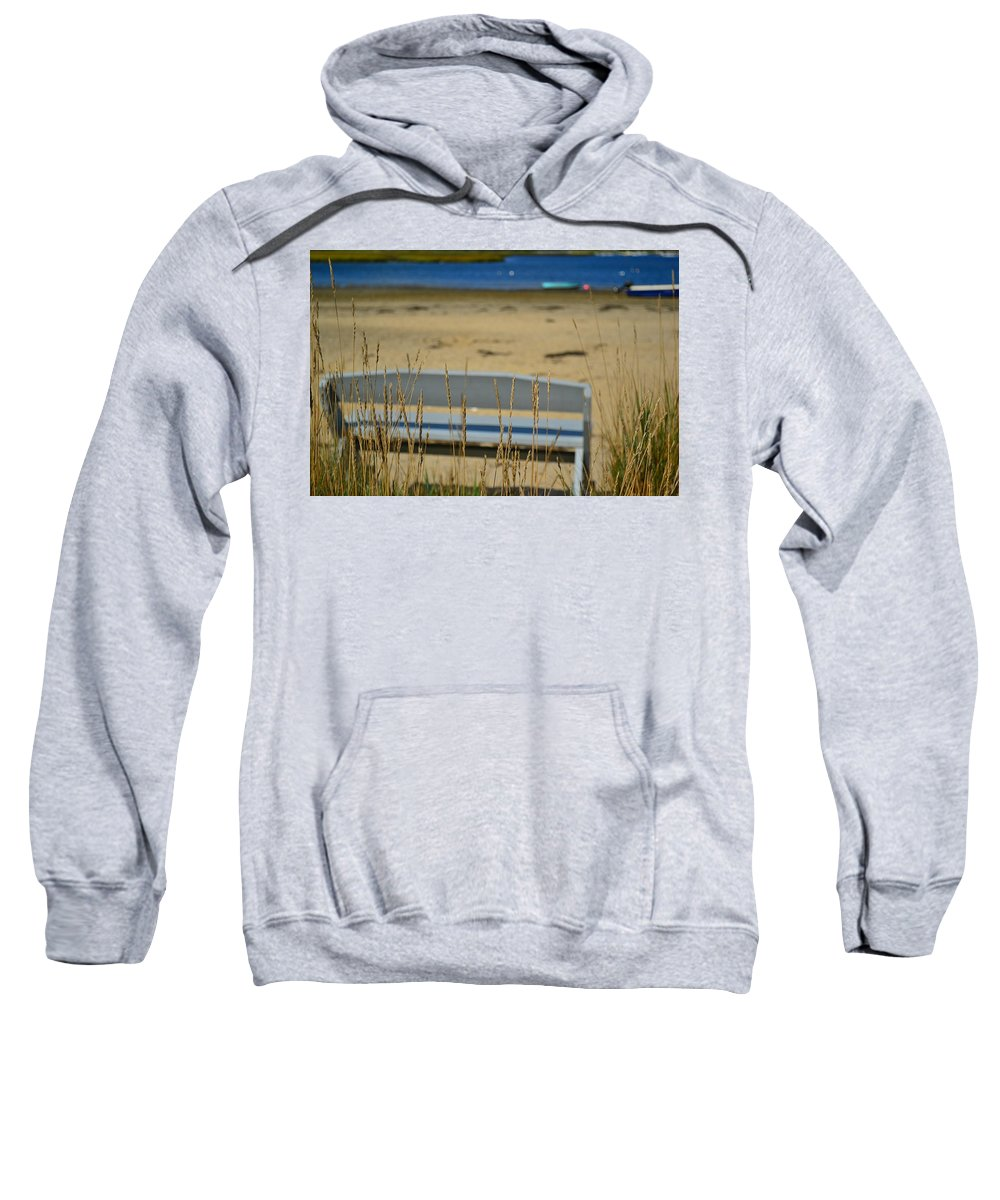 Beach Sweatshirt featuring the photograph Bench On The Beach by Bonnie Myszka