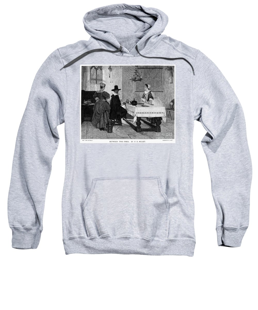 1892 Sweatshirt featuring the photograph Between Two Fires, C1892 by Granger