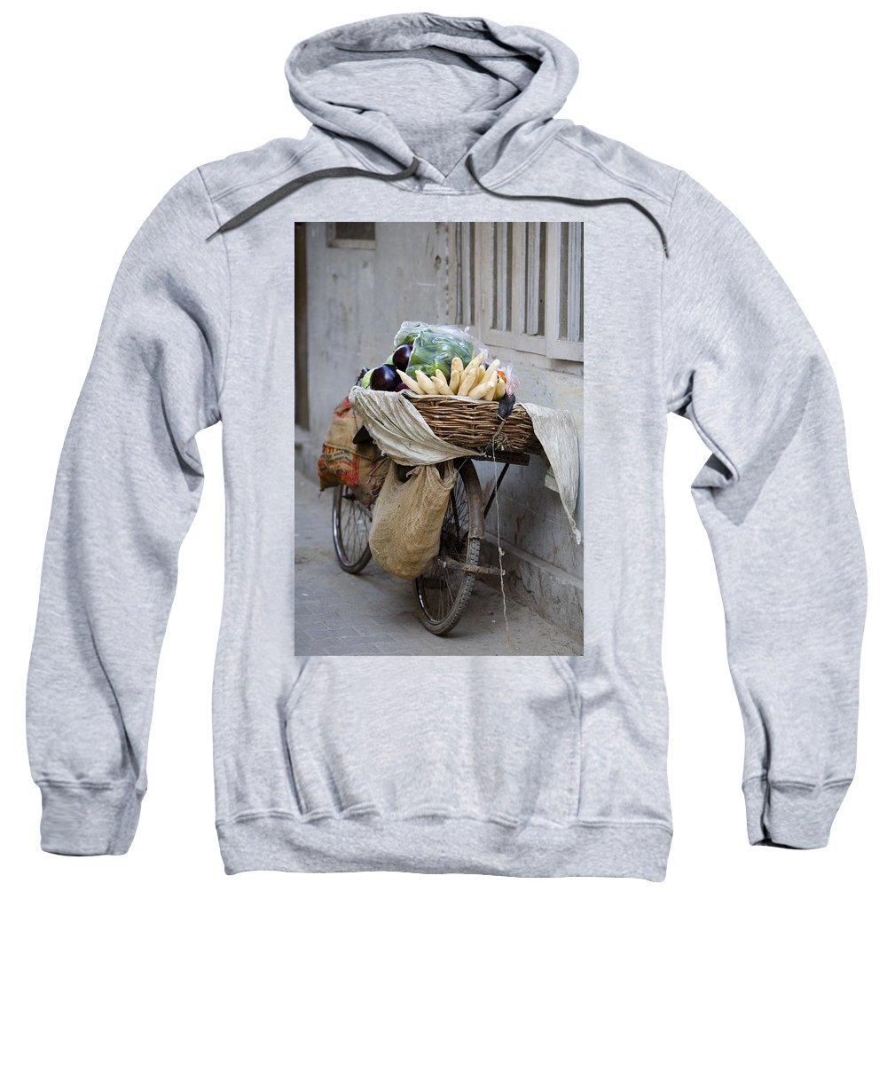Activity Sweatshirt featuring the photograph Bicycle Loaded With Food, Delhi, India by David DuChemin