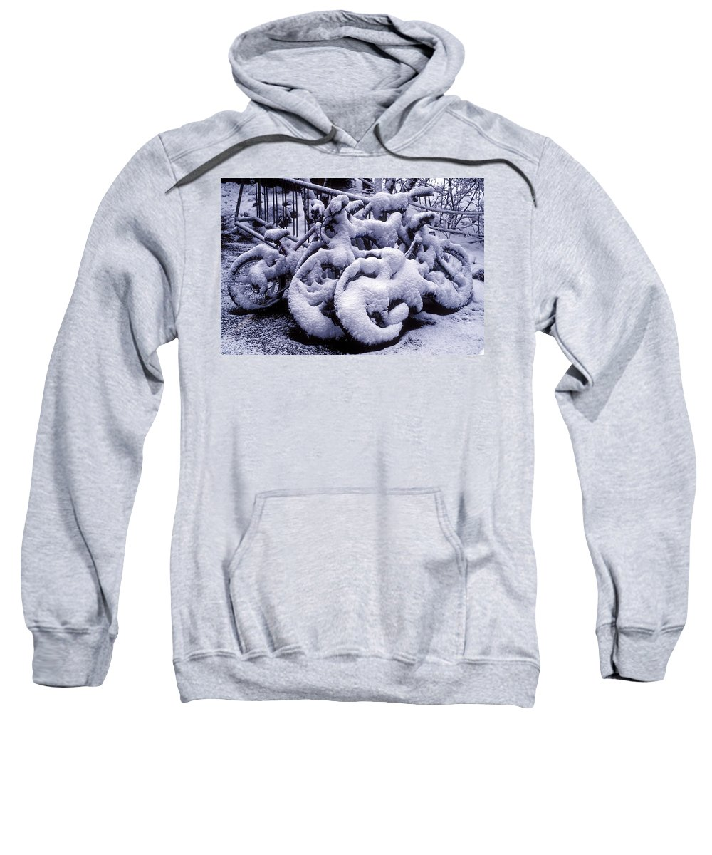 Season Sweatshirt featuring the photograph Bicycles Covered With Snow by Garry Gay
